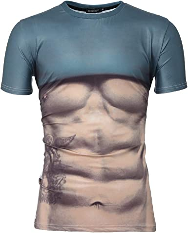 Men/'s Funny 3D Muscle Printing Fitness Elastic Short Sleeve T-Shirt Tops T-shirt