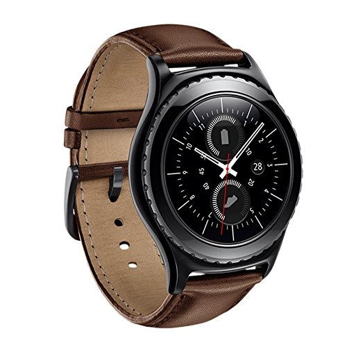 Gear S2 Classic Watch Band, Wollpo Premium Leather Bands with Bukle Spring Bar Replacement Watch Band for Samsung Gear S2 Classic Smartwatch (Leather, Brown)