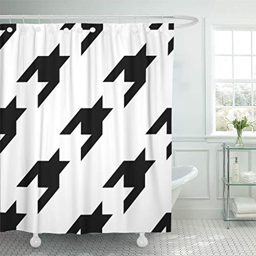 Semtomn Shower Curtain Waterproof Polyester Fabric 66 x 72 inches Seamless Surface Pattern Design with Houndstooth Ornament Cloth Wallpaper Fabric Set with Hooks Decorative Bathroom