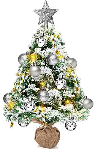 Mini Sapin de Noel Artificiel, 50cm Petit Sapin de Noel de Table avec 8 Modes Guirlande Lumineuse LED, Arbre de Noël Lumineux avec Etoile Argent, Décorations de Noël pour Maison Cuisine Bureau