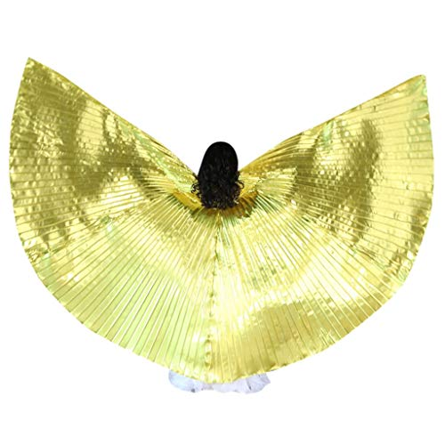 MURTIAL Belly Dance Wing with Rods-360 Degree Isis Angel Wings with Portable Telescopic Sticks for Adults and Child Gold