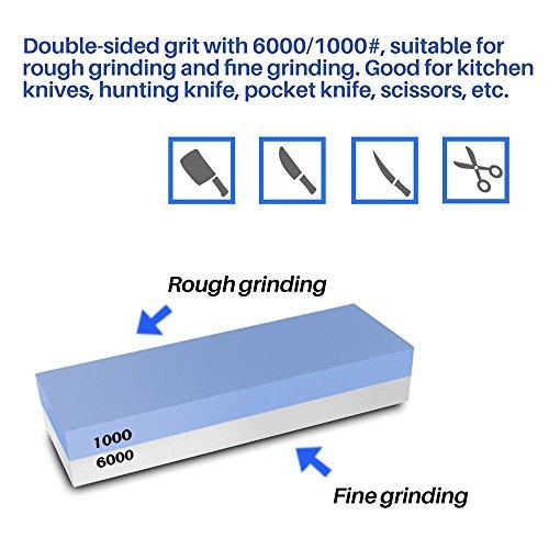 Wetzstein Random Professioneller Sch/ärfstein 2 in 1 Schleifstein Set K/örnung 1000//6000 mit mit Rutschfester Bambus-Basis und freiem Winkel