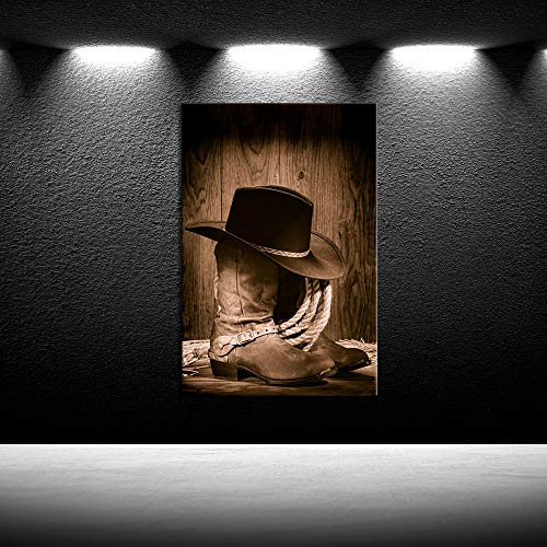 iKNOW FOTO Canvas Prints Wall Art American West Rodeo Cowboy Black Felt Hat ATOP Worn Western Boots Vintage Style Home Decoration Stretched Gallery Canvas Wrap Giclee Print Ready to Hang 24x36inch ()