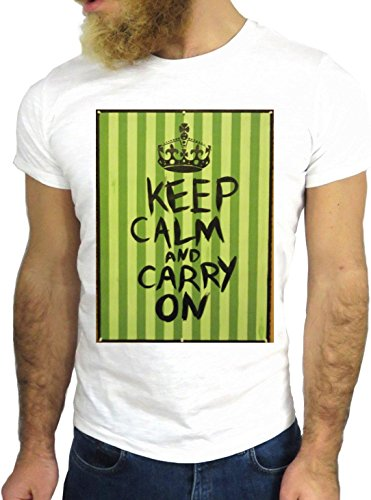 T SHIRT JODE Z3371 KEEP CALM CARRY ON SCARY NICE FUN VINTAGE GREEN HIPSTER GGG24 BIANCA - WHITE S