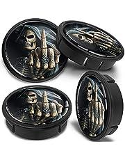 SkinoEu 4 x 60 mm universeel zwart middelvinger schedel aluminium velgen naafdoppen velgen doppen velgdoppen wieldoppen wielnaafdop naafdop velgdoppen CX 25