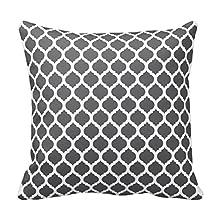 Generic Custom Square Dark Grey Moroccan Pattern Throw Pillow Cover Cotton Pillowcase Cushion Cover 16 X 16