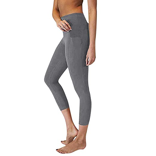 6739fcab02c05 SGMORE Short Yoga Pants for Women High Waist Yoga Pants with Pockets Tummy  Workout Running Sports