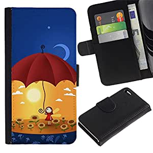 Ihec-Tech / Flip PU Cuero Cover Case para Apple Iphone 4 / 4S - Cute Umbrella Girl