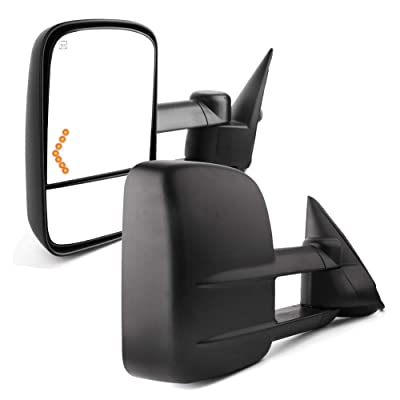 YITAMOTOR Compatible with Chevy Towing Mirrors, Chevrolet Silverado Side Mirror, GMC Sierra Tow Mirrors, Pair 2003-2007 Power Heated with Arrow Signal Light: Automotive