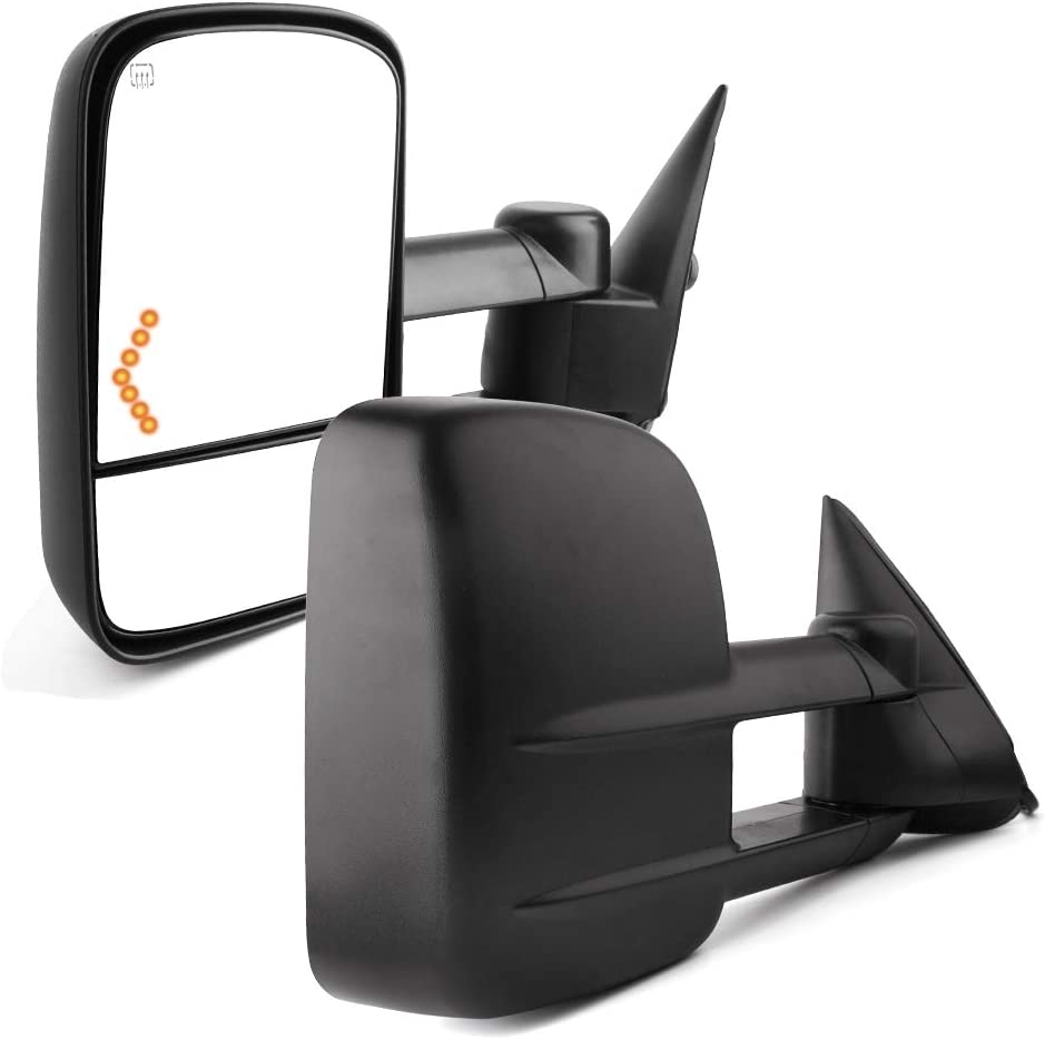 YITAMOTOR Compatible with Chevy Towing Mirrors, Chevrolet Silverado Side Mirror, GMC Sierra Tow Mirrors, Pair 2003-2007 Power Heated with Arrow Signal Light