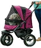 Pet Gear No-Zip Double Pet Stroller, with Zipperless Entry, Boysenberry