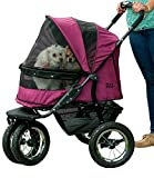 Pet Gear NO-ZIP Double Pet Stroller - Zipperless Entry - for Single or Multiple Dogs Cats - Plush Pad + Weather Cover Included - Large Air Tires