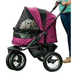 Pet Gear No-Zip Double Pet Stroller Zipperless Entry Boysenberry