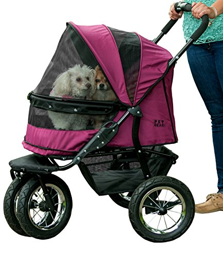 Pet Gear No-Zip Double Pet Stroller - Zipperless Entry - Boysenberry