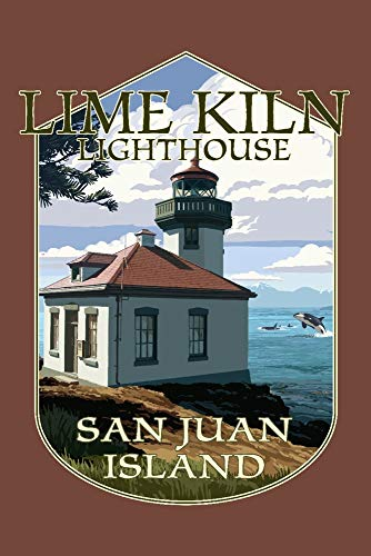 San Juan Island, Washington - Lime Kiln Lighthouse Day Scene - Contour 99066 (12x18 Art Print, Wall Decor Travel Poster)