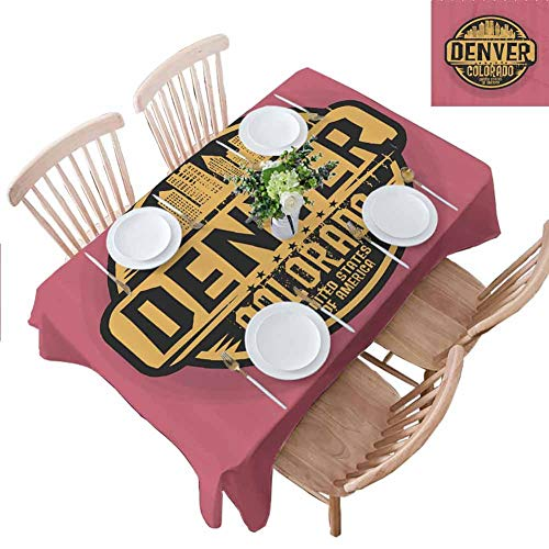 City Hall Denver Halloween (PINGYEHOME Tablecloths, Denver Grunge Urban City Coffee Hall Home Decorative Cover Wrinkle Free Anti-Fading Tablecloths for Kitchen Dinning Party, W52 x L84)