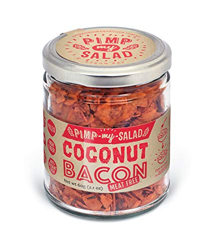 PIMP MY SALAD Vegan Bacon Substitute   Keto, Gluten Free, Dairy Free, Paleo   Crunchy Meal & Salad Toppers Made with Whole Food Ingredients   Coconut Bacon   Eco Jar   2.1 oz
