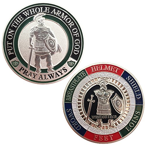 Armor of God Challenge Coin - Silver - Collectors Medallion - Jewelry (Silver Finish Challenge Coin)