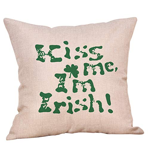 Irish Pride Shamrock Throw Pillow Case Leprechauns Cushion Cover for St. Patricks Day Decor Bedroom Home Sofa Office Car 18 x 18 Inch (D)