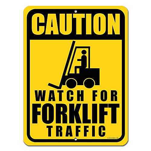 Honey Dew Gifts Traffic Signs, Caution Watch for Forklift Traffic 9 x 12 inch Metal Aluminum Safety Tin Sign, Safety Signs for Workplace