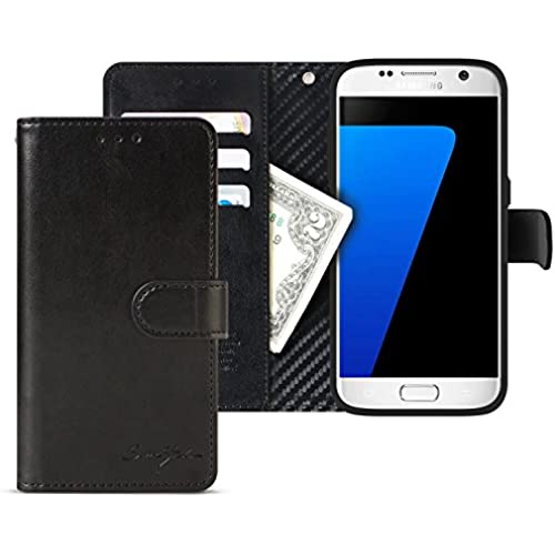 Galaxy S7 Edge Case Wallet, Tridea [Card Pockets][Flip][Magnetic Closure][Slim Fit] Premium Synthetic Leather Case for Galaxy S7 Edge (2016) [Black] Sales