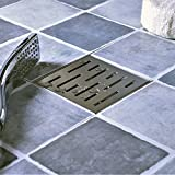 Neodrain Square Shower Drain with Removable Brick Pattern Grate, 4-Inch, Brushed 304 Stainless Steel, With WATERMARK&CUPC Certified, Includes Hair Strainer