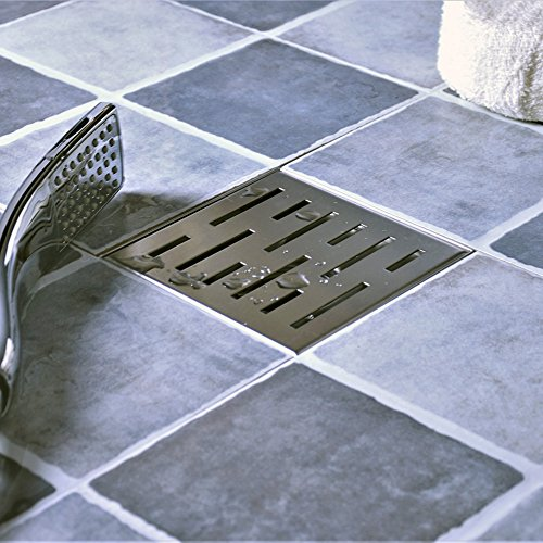 Neodrain Square Shower Drain with Removable Brick Pattern Grate, 4-Inch, Brushed 304 Stainless Steel, With WATERMARK&CUPC Certified, Includes Hair (Square Drain Cover)