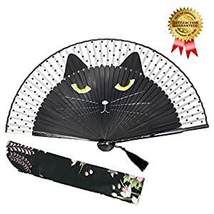 """OMyTea """"Sexy Cat"""" Folding Hand Held Fan for Women - With a Fabric Sleeve for Protection - Chinese / Japanese Vintage Retro Style for Wedding, Dancing, Church, Party, Gifts (Black)"""