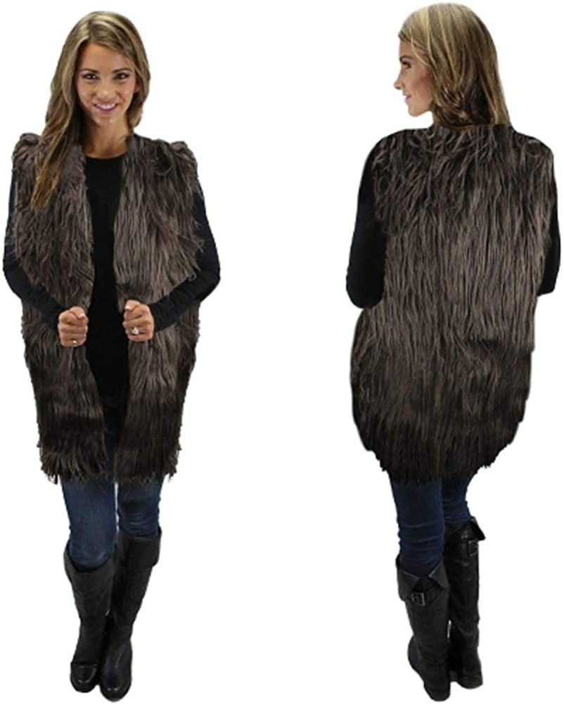 Paradise/_shopping Fur Vest Solid Brown Faux Fur