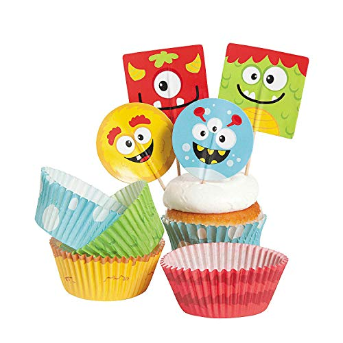 Bakery Supplies - Silly Monster Cupcake Picks and Baking Cups (1-Pack of 100)