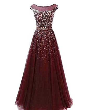 f4d4c35b823 QiJunGe Modest Sequin Beaded Prom Gown Floor Length Formal Evening Party  Dress Burgundy US 2