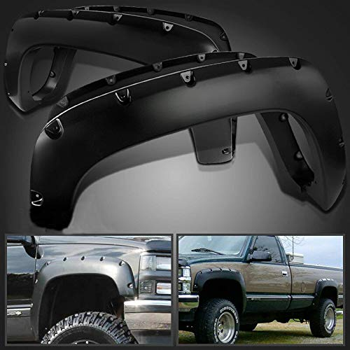 SHENGYAWAUTO Black Pocket Style Fender Flares Wheel Protector for 88-98 GMC C/K Pickup 92-99 Tahoe Blazer Yukon