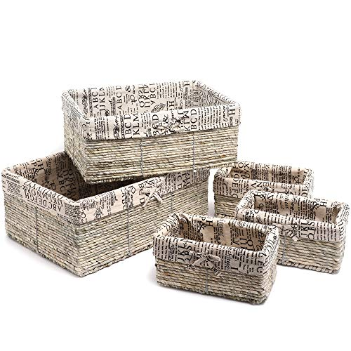 Juvale Nesting Storage Baskets - 5-Piece Wicker Decorative Cube Organizers Box Set for Shelf, Kitchen, Bathroom, and Bedroom, Stone Gray, Classical Text Design - 3 Small, 1 Medium, 1 Large (Baskets Large Lining White Wicker With)