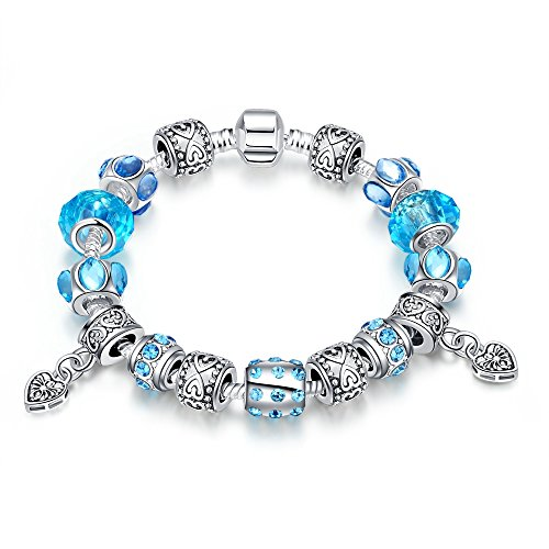 Naivo Designer Inspired Crystal Snake Chain Murano Glass Beads Charm Bracelet - Girls Just Want to Have Fun-Aquamarine