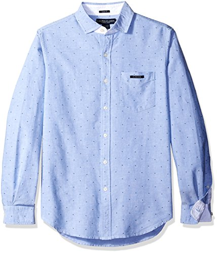 U.S. Polo Assn. Mens Dot Printed Oxford Cloth Spread Collar Sport Shirt