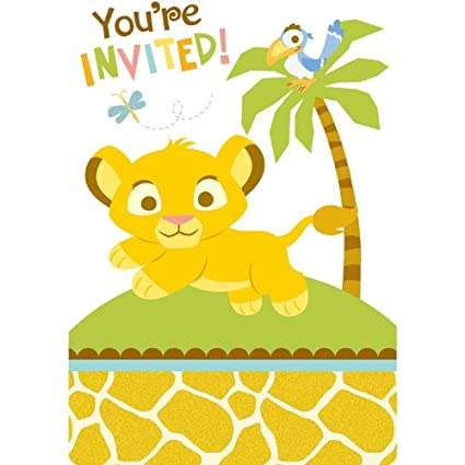 The Lion King Lion King Baby Shower Invitations 8 Count Amazon Ca