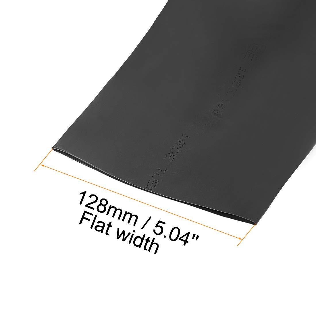 sourcing map Gaine Thermor/étractable 80mm Diam/ètre 128mm Largeur Plate 2:1 Rapport Manchon C/âble Tube R/étractable 1m Noir