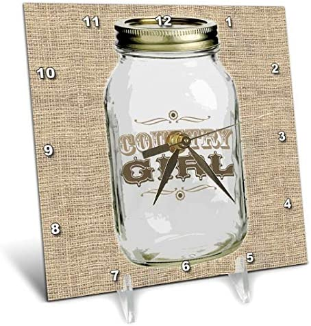 3dRose dc_165874_1 Mason Jar on Burlap Country Girl in Brown Desk Clock, 6 by 6