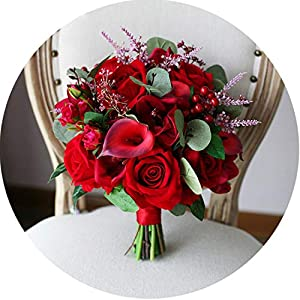 Vintage Red Roses Bridal Bouquet Artificial Calla Lily Bride Hand Bouquet Wedding Flowers Bouquets Ramillete 63