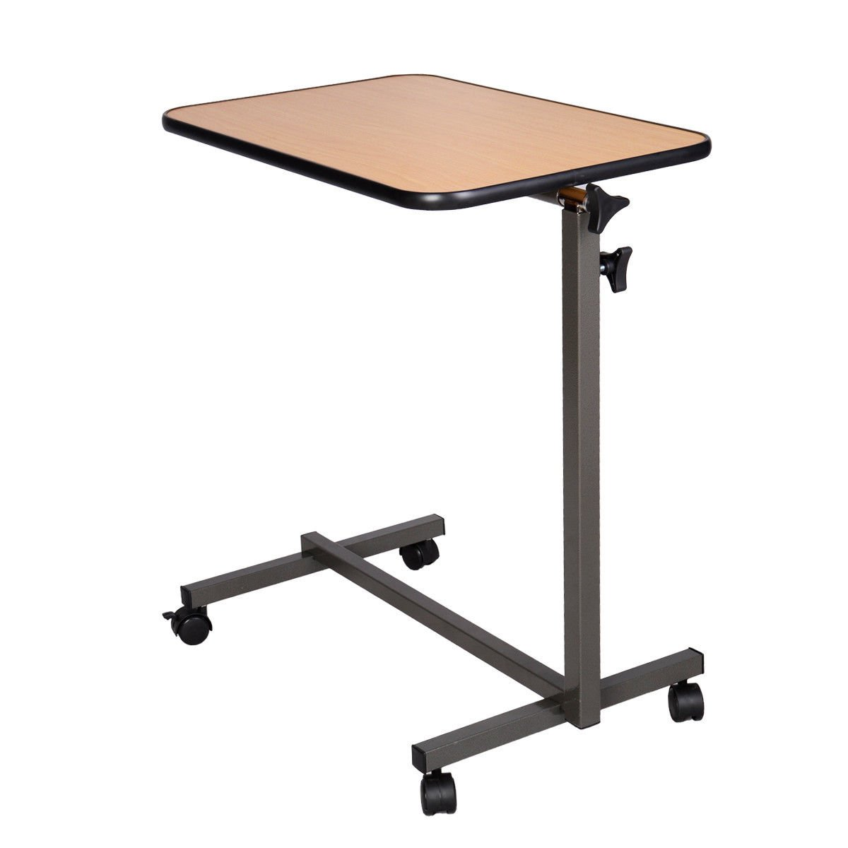 Overbed table food tray non tilt top bed hospital adjustable rolling - Amazon Com Laptop Food Tray Overbed Table Rolling Desk Hospital Over Bed With Tilting Top Kitchen Dining