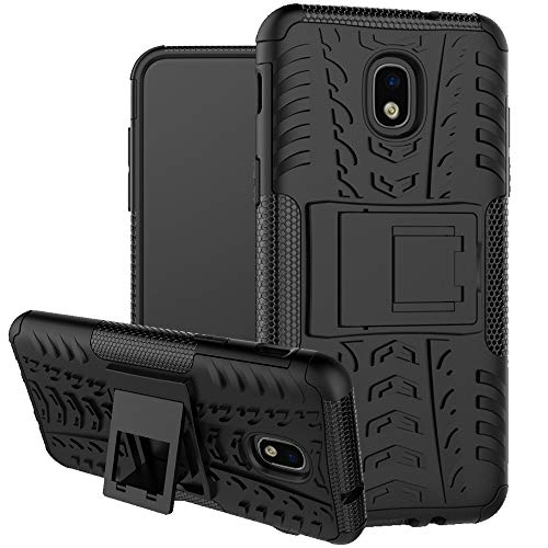 Boythink Compatible with Galaxy J3 2018,Galaxy J3 V 3rd Gen, Express Prime 3,J3 Achieve,J3 Star, Double-Layer Hybrid Shock Resistant Armor with Kickstand Protective Case (Black)