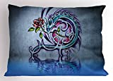 Lunarable Dragon Pillow Sham, Flower and Swirling Twiggy Dragon Figure on Wall Graffiti Inspired Art Red Rose and Water, Decorative Standard King Size Printed Pillowcase, 36 X 20 inches, Multi