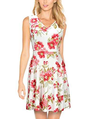 Elywish Women's Summer Casual Fit and Flare Sundress Floral Party Skater Dress, Pink Floral, X-Large