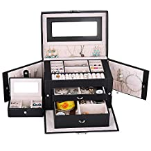 Kendal Large Leather Jewelry Box / Case / Storage / Organizer With Travel Case and Lock (Black)