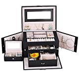 Kendal Large Leather Jewelry Box/Case/Storage/Organizer With Travel Case and Lock (Black)