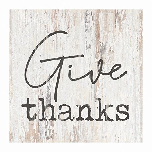 P. Graham Dunn Give Thanks Rustic Whitewash 3.5 x 3.5 Inch Pine Wood Tabletop Block Sign (Blocks Thanks Give)