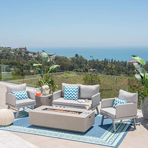 Great Deal Furniture Parker Outdoor Conversation Set with Fire Pit | 4-Seater | Loveseat and Club Chairs | Aluminum with Outdoor Cushions | Silver, Gray, Light Gray