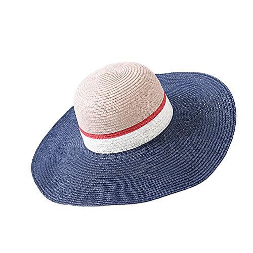XWWS Sun Hat Summer Straw Color Design Women Foldable Hat Sombrero Spell Visor Cap,Blue