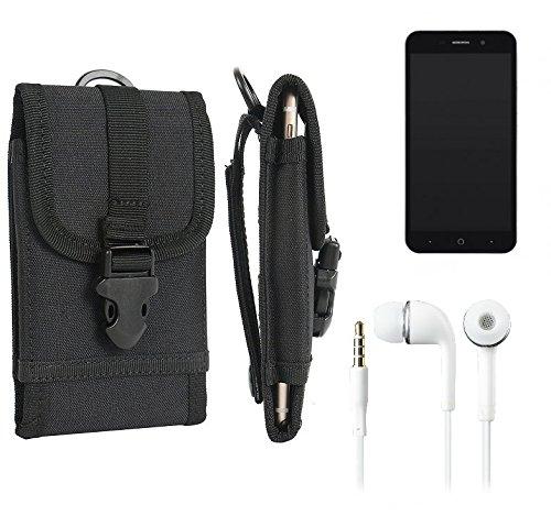 bolsa del cinturón / funda para ZTE Blade A602, negro + Auriculares | caja del teléfono cubierta protectora bolso - K-S-Trade (TM)