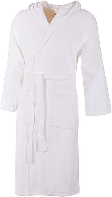 Albornoz blanco con capucha de rizo 100% algodón monocolor hombre mujer unisex M: Amazon.es: Belleza
